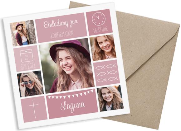 Einladung zur Konfirmation (quadratische Postkarte mit fünf Fotos), Motiv: Bildreich, mit Briefhülle, Farbvariante: altrosa