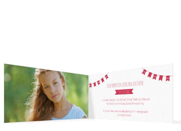 Einladung zur Konfirmation, Motiv: Wimpelkette, Innenansicht, Farbvariante: Rot
