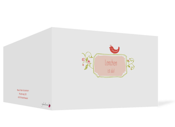 Babykarte, Motiv: Lenchen/Lenhard, Aussenansicht, Farbversion: apricot