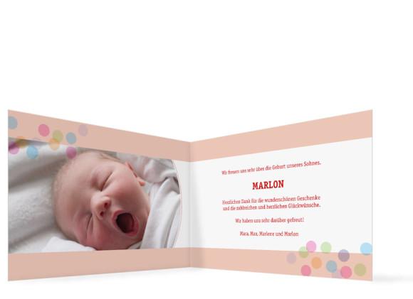 Innenansicht, Klappkarte zur Geburt, Motiv Marlene/Marlon, Farbversion: rot
