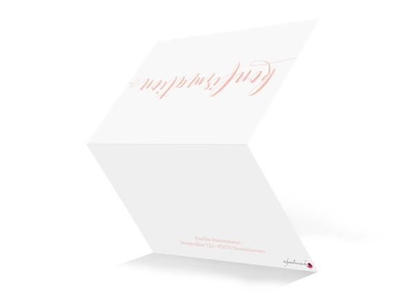Einladung zur Konfirmation, Motiv Calligraphy, Aussenseite, Klappkarte A6, Farbversion: apricot