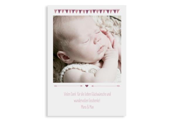 Geburtskarte (Einfachkarte, hochkant, ein Foto), Motiv: Magda/Mark, Rückseite, Farbvariante: altrosa