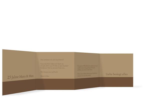 Innenansicht, Einladungs-Leporello zur Silbernen Hochzeit, Motiv Rokko, Farbversion: beige/braun