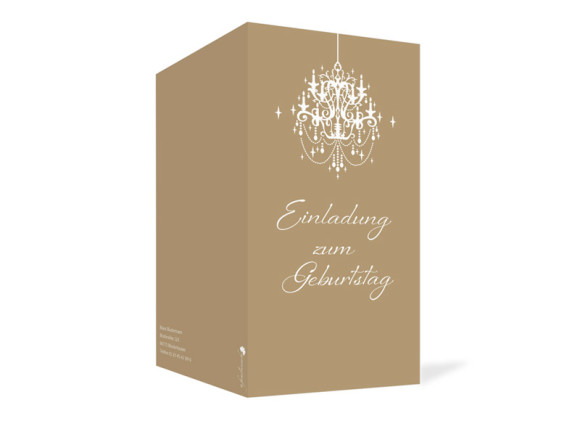 Geburtstagseinladung, Motiv Gala, Außenansicht, Farbversion: beige