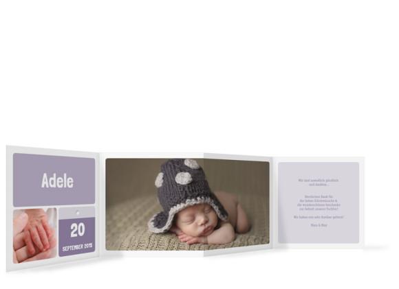 Babykarte (Leporello), Motiv: Adele/Augustin, Rückseite, Farbversion: flieder