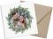 quadratische Weihnachtspostkarte, Motiv: Wintereinzug, mit Briefhülle, Farbvariante: beerenrot