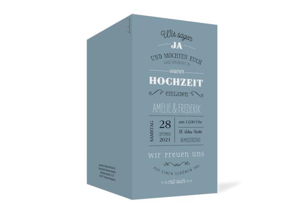 Einladung Hochzeit (Klappkarte DL), Motiv: Rotterdam, Aussenansicht, Farbvariante: blau