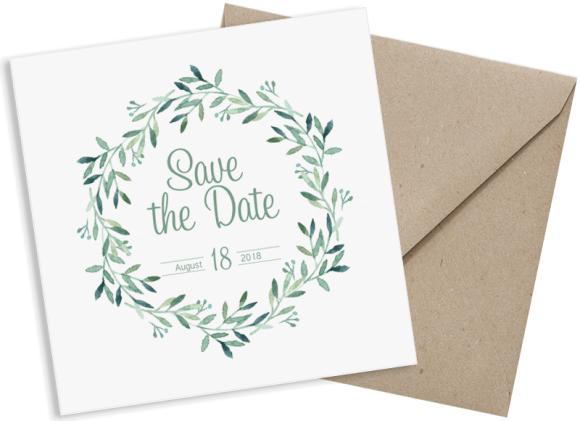Postkarte (quadratisch), Motiv: Blätterkranz, mit Briefhülle, Farbvariante: gruen