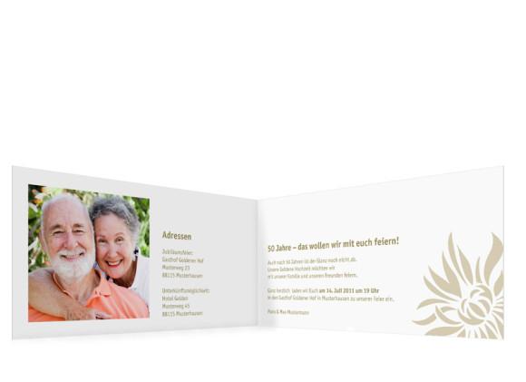 Innenansicht, Einladungs-Klappkarte zur Goldenen Hochzeit (Format DIN Lang), Motiv Florenz, Farbversion: beige