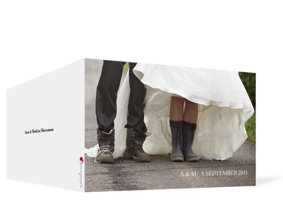 Dankeskarten zur Hochzeit Blanche, Außenansicht der Farbversion: weiß