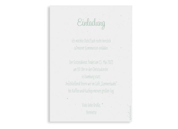 Kommunionseinladung (Postkarte Hochformat mit Foto), Motiv: Henriette/Henry, Rückseite, Farbvariante: gruen