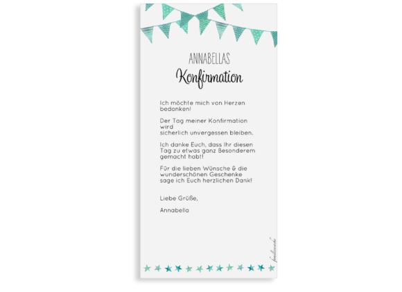 Danksagung zur Konfirmation (Postkarte DL hochformat mit Foto), Motiv: Stimmung, Rückseite, Farbvariante: gruen