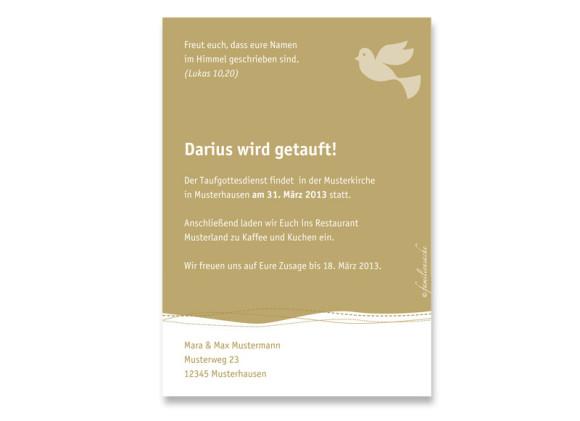 Rückseite, Postkarte zur Taufe, Motiv Deborah/Darius, Farbversion: beige