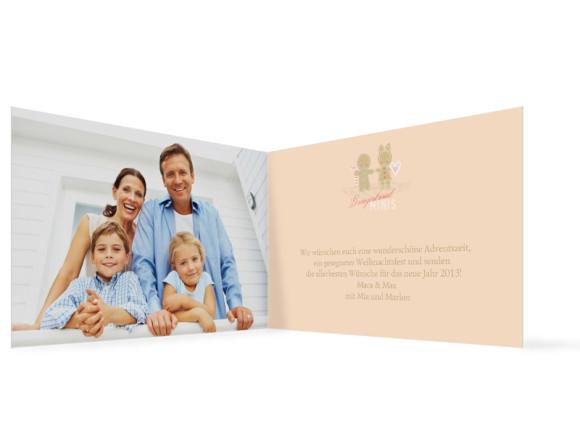 Innenansicht, Weihnachtskarte, Motiv Lebkuchenpaar, Farbversion: beige