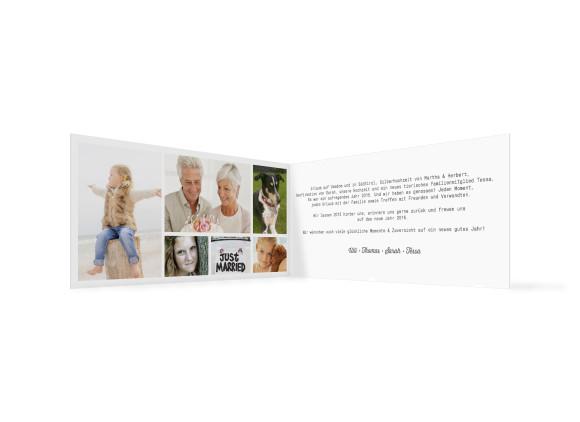 Neujahrskarte Blickwinkel, Innenansicht der Farbversion: weiß