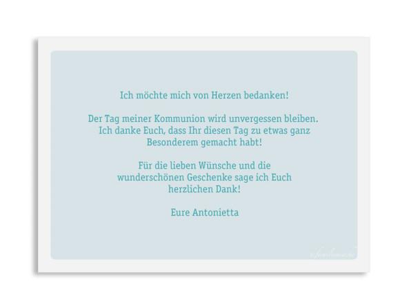 Kommunionsdanksagung (Postkarte mit Foto), Motiv: Lucia / Luca, Rückseite, Farbvariante: eisblau