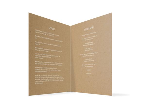 Kirchenheft (Klappkarte A5), Motiv: Gent Natural, Innenansicht, Farbvariante: weiss
