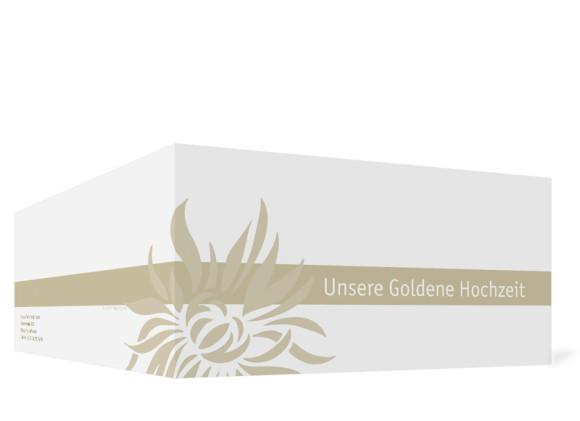 Außenansicht, Einladungs-Klappkarte zur Goldenen Hochzeit (Format DIN Lang), Motiv Florenz, Farbversion: beige
