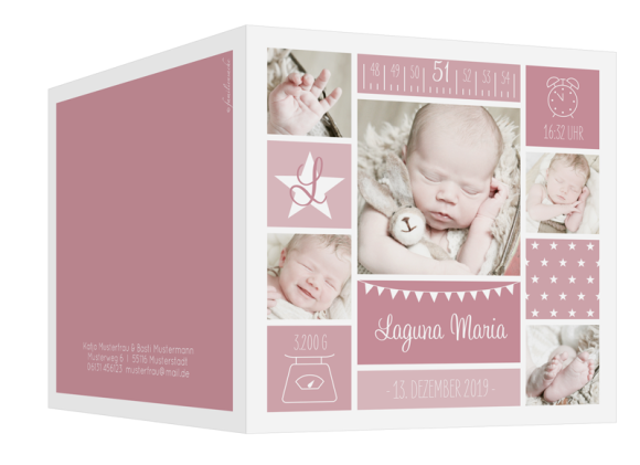 Danksagung zur Geburt (quadratische Klappkarte, 6 Fotos), Motiv: Laguna/Leandro, Aussenansicht, Farbvariante: altrosa