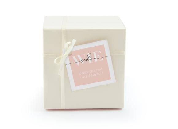 Geschenkanhänger (quadratisch, mit Lochung), Motiv: Brisbane, Aussenansicht, Farbvariante: apricot