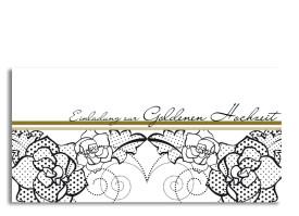 Einladungen zur Goldhochzeit Spitze (Postkarte) Beige