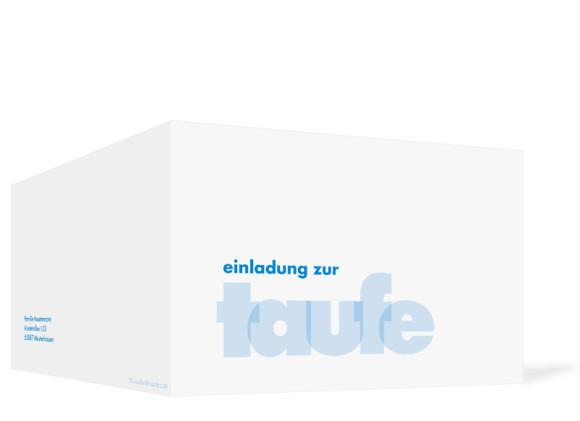 Außenansicht, Klappkarte zur Taufe, Motiv Liv/Leo, Farbversion: hellblau