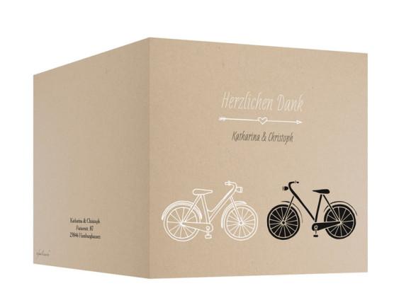 Danksagungskarte zur Hochzeit, Motiv: Fahrrad, Farbe: beige, Außenansicht