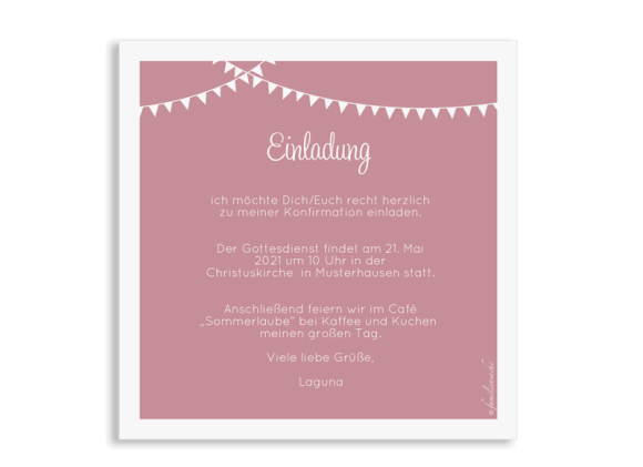 Einladung zur Konfirmation (quadratische Postkarte mit fünf Fotos), Motiv: Bildreich, Rückseite, Farbvariante: altrosa