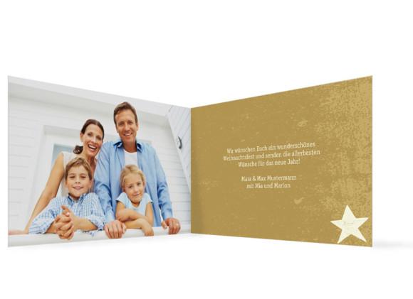 Innenansicht, Weihnachtskarte, Motiv Sterne, Farbversion: creme