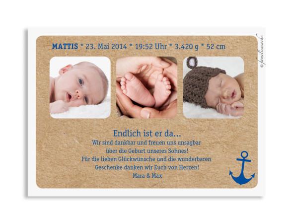 Babykarten Mira/Mattis, Rückseite der Farbversion: dunkelblau