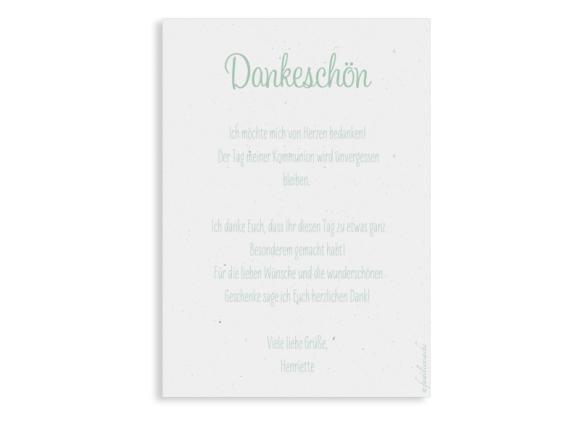Kommunionsdanksagung (Postkarte Hochformat mit Foto), Motiv: Henriette/Henry, Rückseite, Farbvariante: gruen