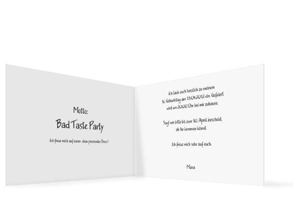 Innenansicht, Geburtstagseinladung, Motiv Fotokarte, Farbversion: blanko