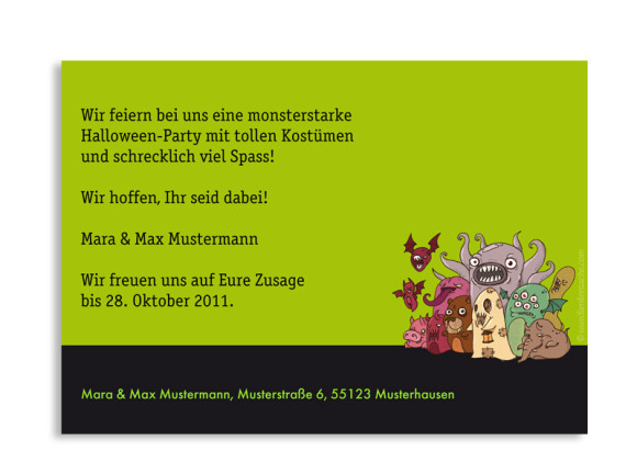 Rückseite, Halloweeneinladung Monster2: grün