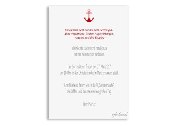 Einladungskarte zur Kommunion Stripes Anchor, Rückseite in Türkis