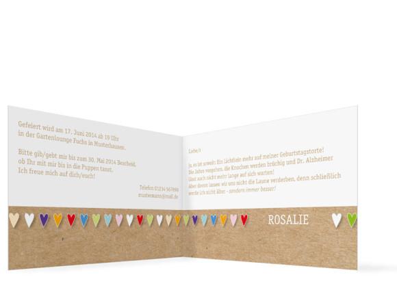 Einladungskarte von ganzem Herzen, Innenansicht der Farbversion: bunt