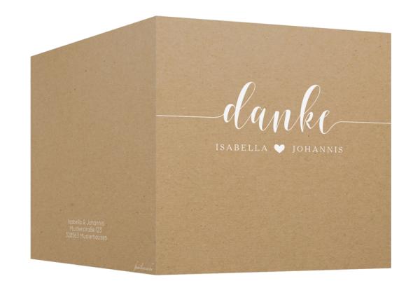 Danksagungskarten Hochzeit (Packpapier, ein Foto), Motiv: Malaga, Aussenansicht, Farbvariante: weiss