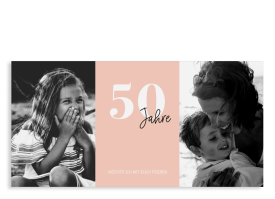 """Einladungskarte zum 50. Geburtstag """"Zeitreise"""" apricot"""