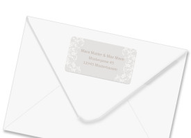 Absender-Adressetiketten zur Hochzeit Dubai Beige