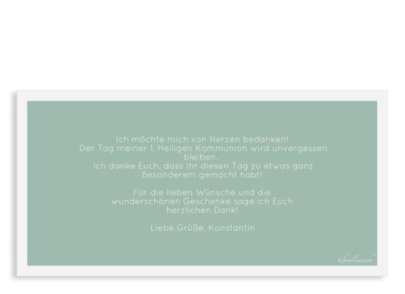 Dankeskarten zur Kommunion (Postkarte DL quer mit nur Text), Motiv: Licht, Rückseite, Farbvariante: gruen