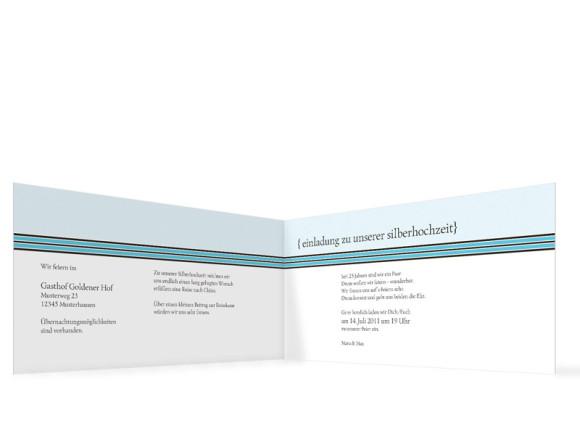 Innenansicht, Einladungs-Klappkarte zur Silbernen Hochzeit (Format DIN Lang), Motiv Cardiff, Farbversion: blau