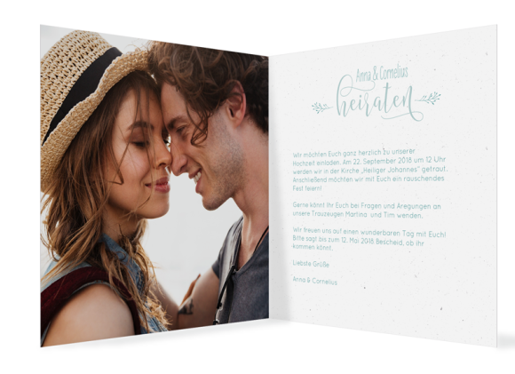 Einladungskarte Hochzeit (Klappkarte quadratisch, mit Foto), Motiv: Blumenkranz, Innenansicht, Farbvariante: tuerkis