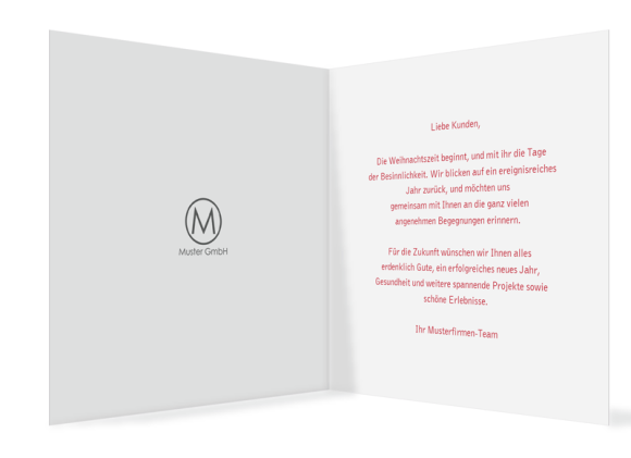 quadratische Weihnachtskarte zum Aufklappen (300 x 150 mm), Motiv: Festtage, Innenansicht, Farbvariante: beerenrot