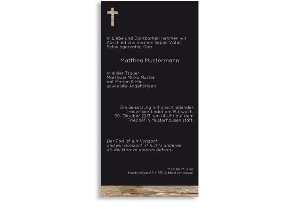 Rückseite, Trauerkarten Holz, Farbversion: schwarz