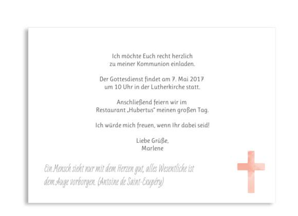 Einladung zur Kommunion, Motiv Vintage Flower, Postkarte A6, Rückseite, Farbversion: apricot