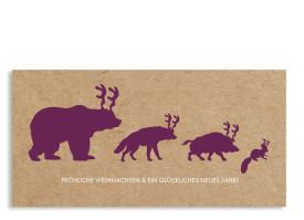 Weihnachtskarte Waldtiere (Postkarte) Brombeer