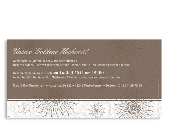 Rückseite, Einladungs-Postkarte zur Goldhochzeit, Motiv Mandala, Farbversion: beige