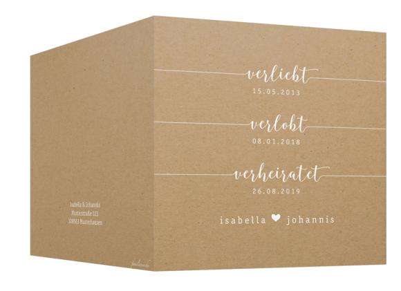 Einladung Hochzeit (quadratische Klappkarte, Kraftpapier), Motiv: Gent Natural, Aussenansicht, Farbvariante: weiss