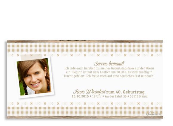Einladungskarte Wiesn, Rückseite der Farbversion: beige