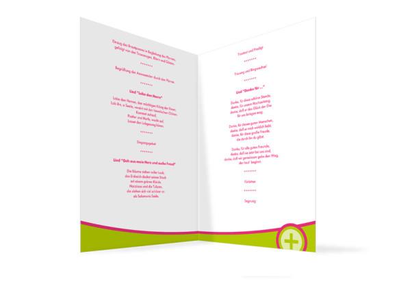 Innenansicht, Klappkarte zur Hochzeit (Kirchenheft), Motiv A+B, Farbversion: gruen-pink