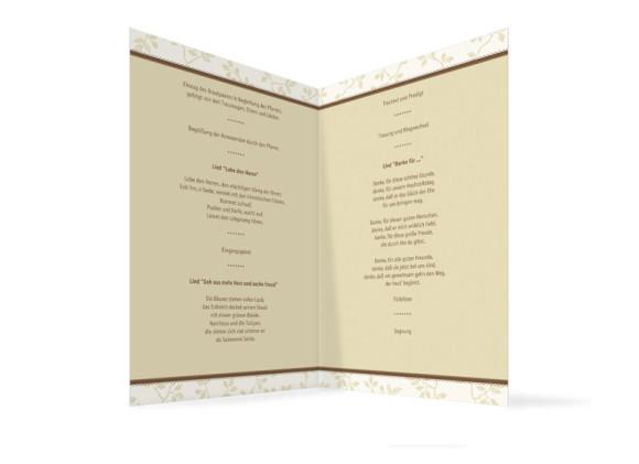 Innenansicht, Klappkarte zur Hochzeit (Kirchenheft), Motiv Oxford, Farbversion: beige-braun